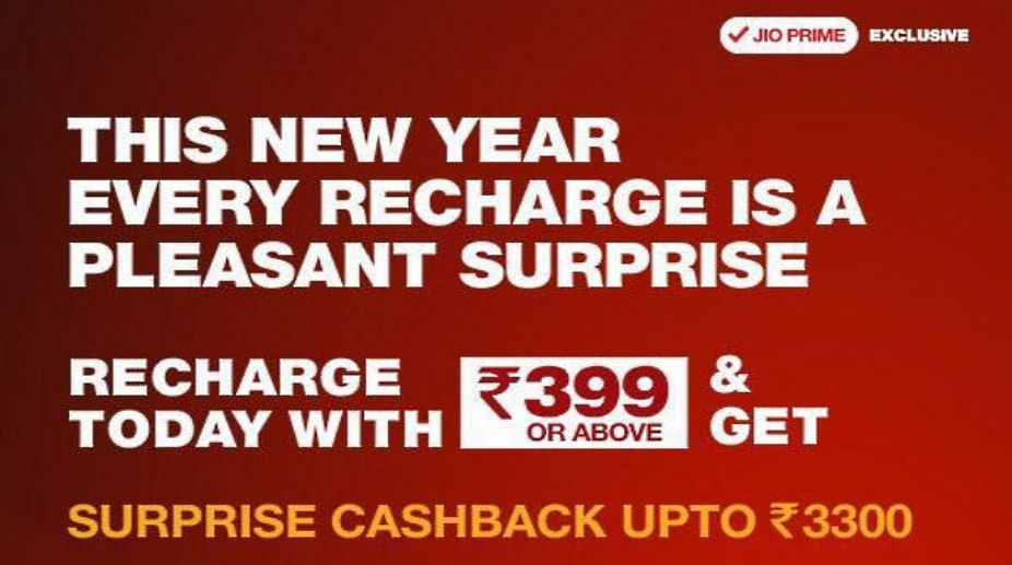 Reliance Jio brings new Rs  3300 cashback offer on Rs  399 recharge