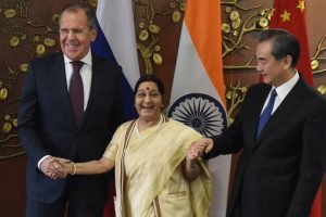 Sushma holds trilateral meet with Chinese, Russian Foreign Ministers