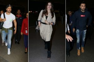 Ranbir, Varun, Shama spotted at Chatrapati Shivaji Maharaj International airport