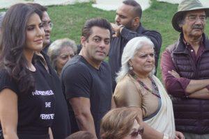 Salman Khan at a book launch with Katrina Kaif and father Salim Khan