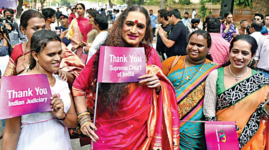 New Delhi: Transgender activist Laxmi Narayan Tripathi (L) during an event celebrating one year of the Supreme Court judgement recognising the Third Gender in New Delhi on Wednesday. PTI Photo