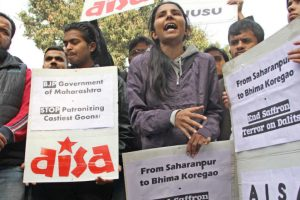 Caste riots: Students protest outside Maharashtra Sadan
