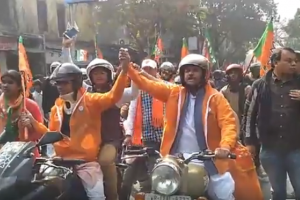 Two days after attack on members, Bengal BJP President flags off bike rally from Vivekananda House
