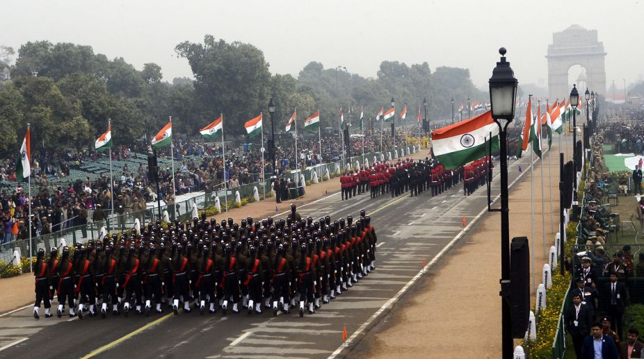 Full dress rehearsal for R-Day celebrations at Rajpath in the Capital on Tuesday. Subrata Dutta