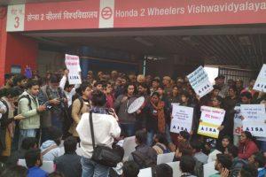 Metro fare rollback protest: DU students, AISA 'occupy' Vishwavidyalaya Metro station