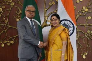 Amidst thawing relations, Maldives FM calls on Sushma Swaraj