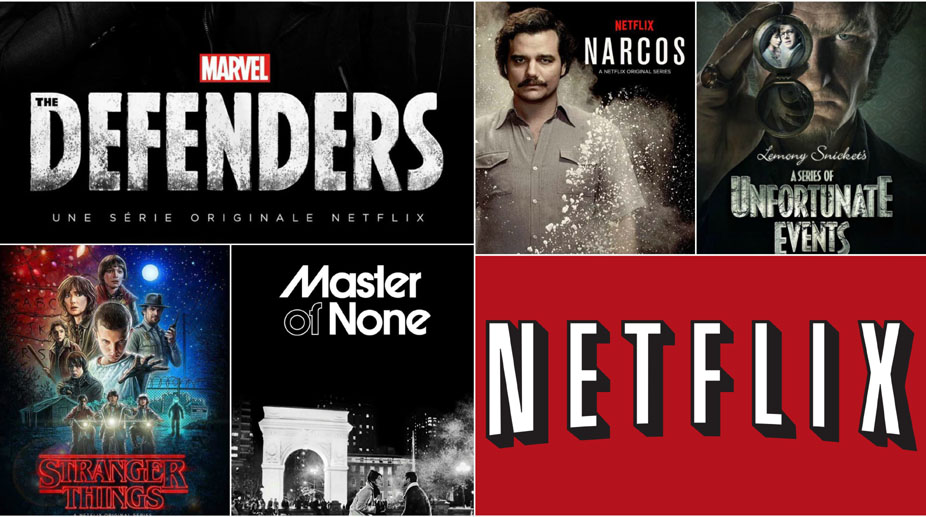 The Defenders, Stranger Things, Master of None, Narcos, A series of Unfortunate events, Netflix