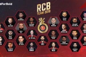 IPL 2018: Royal Challengers Bangalore final squad
