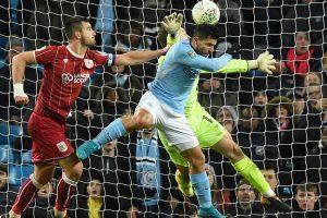 Carabao Cup: Sergio Aguero pounces to give Manchester City edge into 2nd leg
