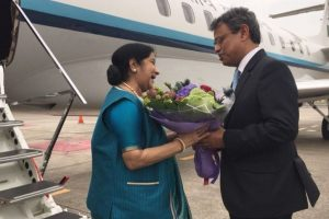 Swaraj arrives in Singapore after talks with ASEAN secretary general
