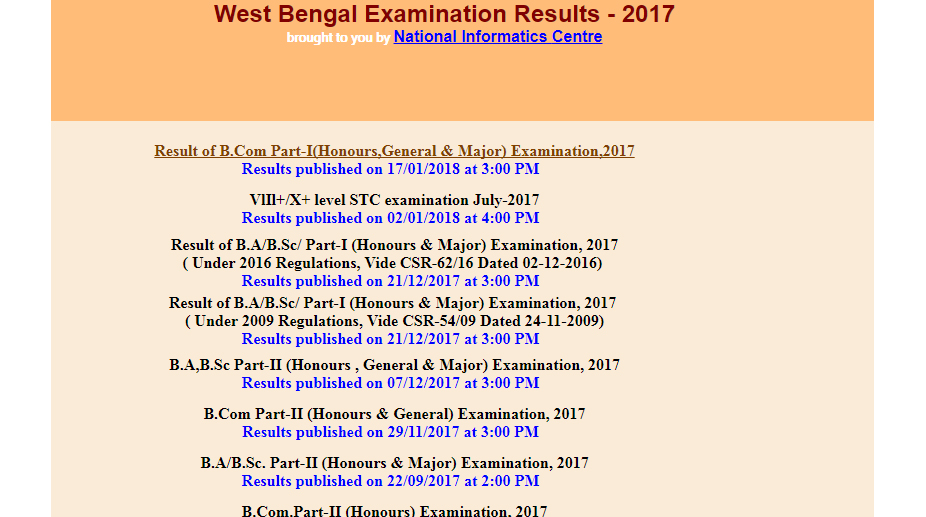 West Bengal results 2017, B Com, BA, BSc, wbresults.nic.in