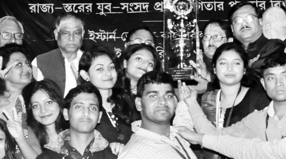 Students of Muragachha Government College,Nadia , champion of Youth Parliament Competition in college level at EZCC in Kolkata on Monday. Debraj Mukherjee