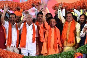 In pics: From Yogi's rally in Karnataka to Owaisi's speech in Hyderabad