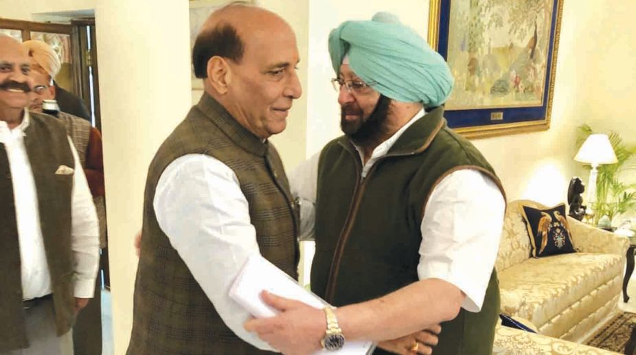 Rajnath Singh meets Punjab CM Amarinder Singh in New Delhi on Tuesday ians