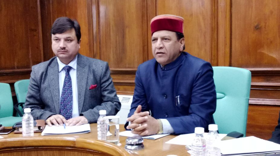 Speaker of Himachal Pradesh Assembly, Dr Rajeev Bindal addressing press gallery committee meeting. Director, Public Relations, Anupam Kashyap (left) also attended the meeting in Shimla on Wednesday. (Photo: SNS)