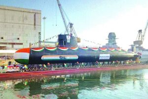 Navy launches 3rd Scorpene class submarine
