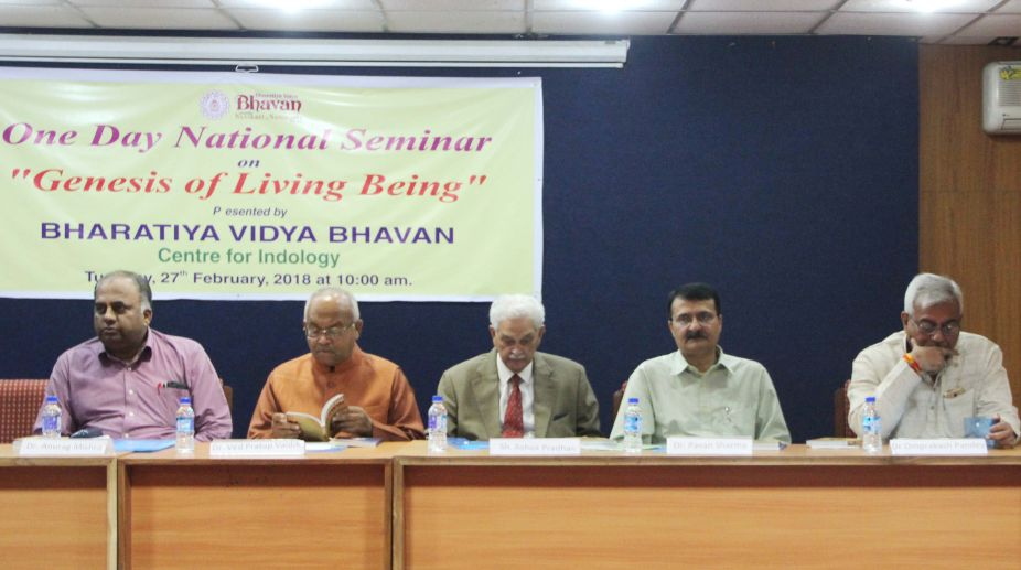 During a national seminar on the 'Genesis of living being', organised by the Bharatiya Vidya Bhavan, in the Capital on Tuesday. (Photo: SNS)