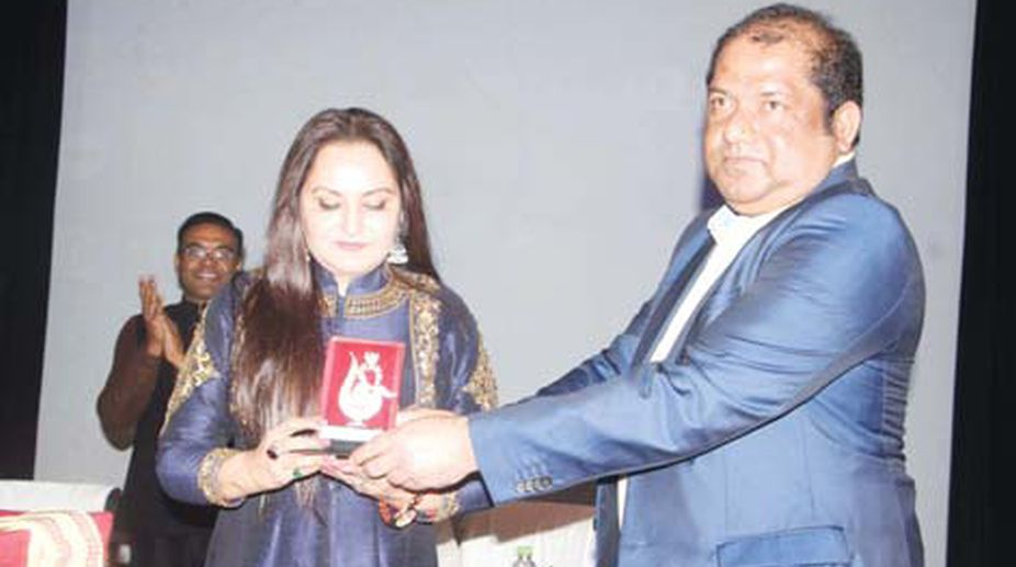 Bollywood actor Jaya Prada attend the World Cancer Day programme at IMS and SUM Hospital on Sunday.