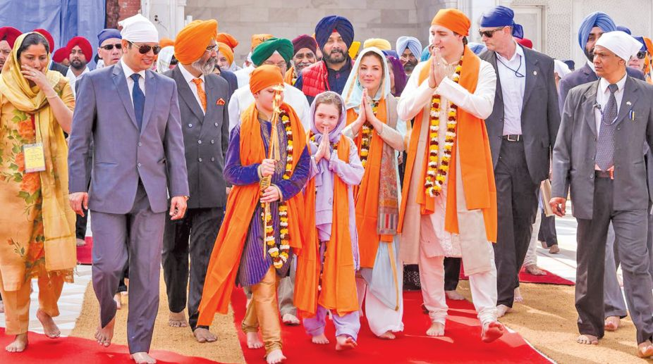 Canadian Prime Minister Justin Trudeau with his family visits the Golden Temple, in Amritsar on Wednesday. (Photo: SNS)