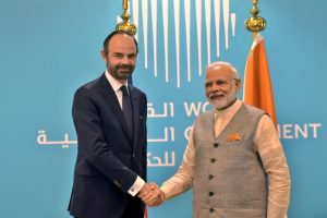 PM Modi meets French PM at World Government Summit
