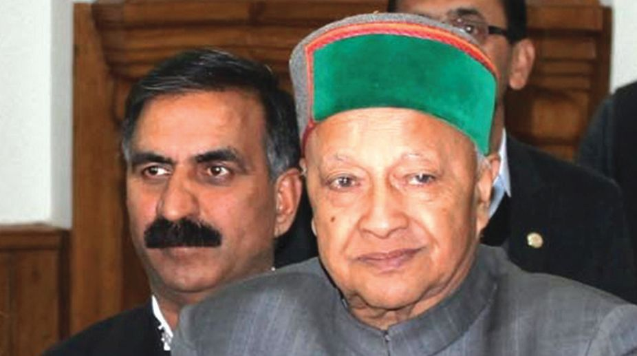 Former Himachal Pradesh chief minister Virbhadra Singh (right) and Pradesh Congress Committee chief Sukhvinder Singh Sukhu.