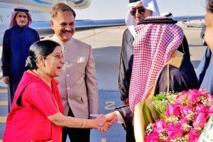 Sushma Swaraj reaches Riyadh on her first ever visit to Saudi Arabia