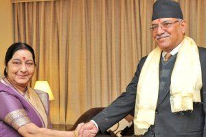 Sushma Swaraj meets Prachanda in Nepal