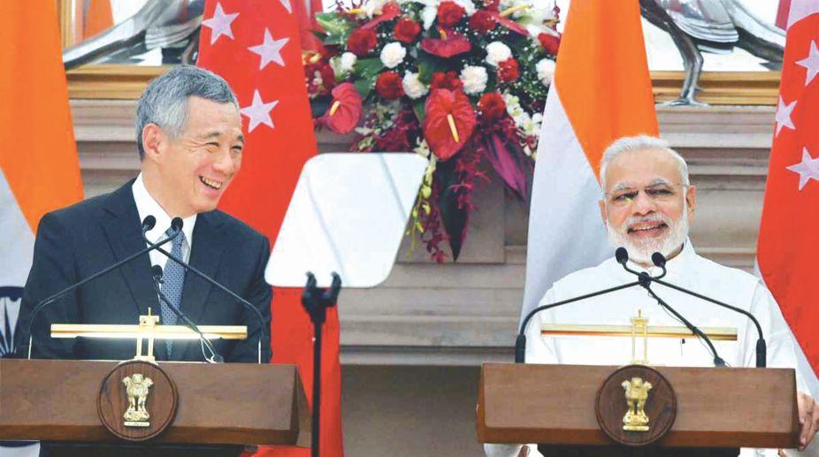 Prime Minister Lee Hsien Loong and Prime Minister Narendra Modi