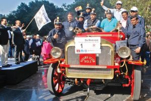 John Morris fire engine all decked up for vintage rally