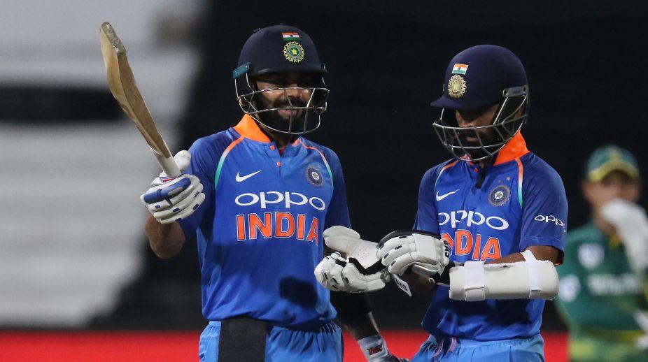 India's batsmen Virat Kohli (L) and Ajinkya Rahane (Photo Credit-AFP)