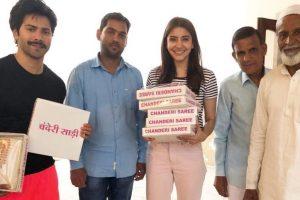 'Sui Dhaaga' co-stars Anushka Sharma, Varun Dhawan shop for chanderi saree