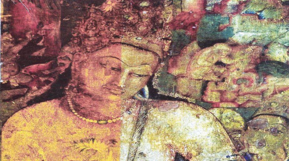 Ajanta rock cut cave mural - BC 2nd to AD 7th century