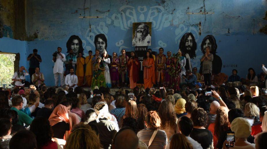 Parmarth Niketan's Yoga participants visiting the Chaurasi Kutiya, popularly known as The Beatles Ashram, in Rishikesh on 5 March. (Phorto: SNS)