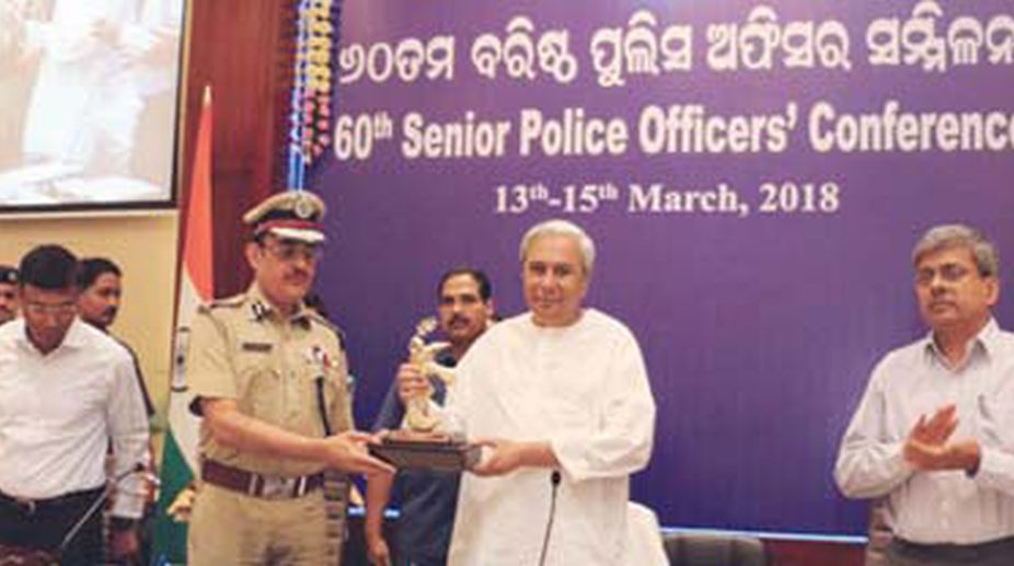 CM Naveen Patnaik at the Senior Police Officers' conference. (Photo: SNS)