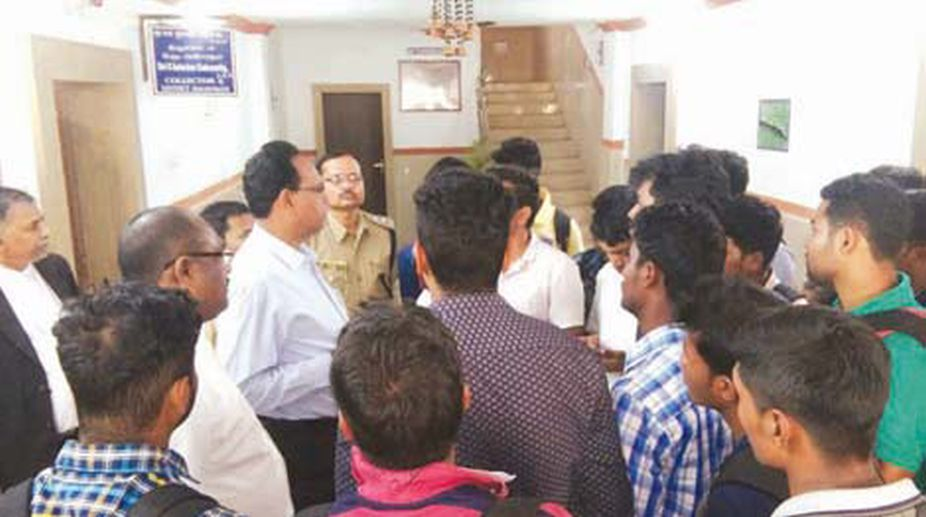 Students from Central University of Orissa meet Koraput ADM following the sine die declared on Thursday. (Photo: SNS)