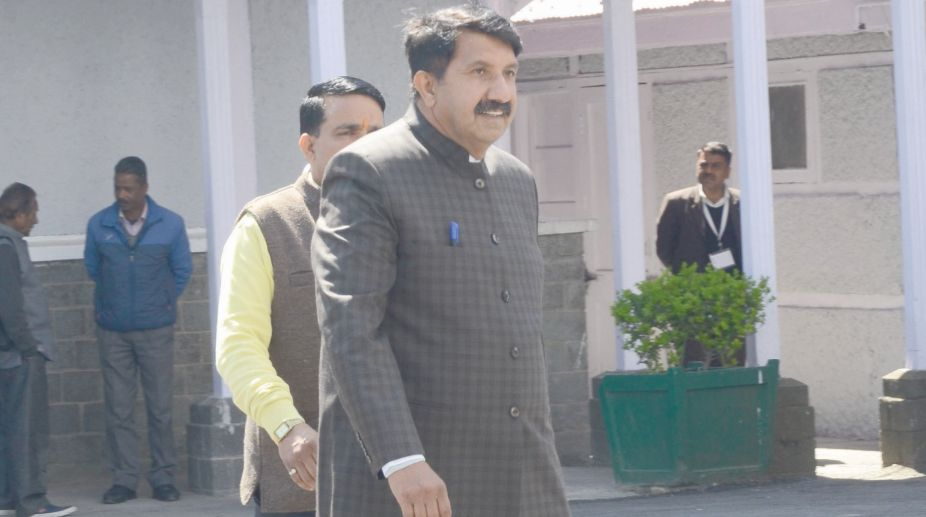 Congress Legislature Party Leader Mukesh Agnihotri going to attend budget session of Vidhan Sabha in Shimla on Monday. (Photo: Lalit Kumar)
