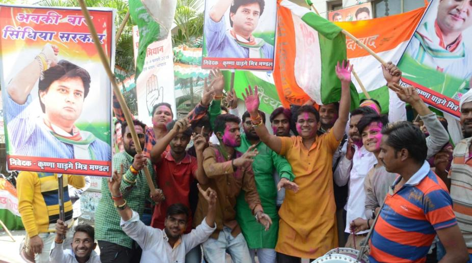 Congress supporters in Madhya Pradesh