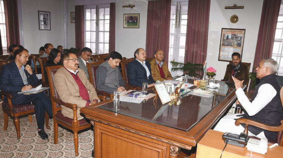 Governor Acharya Devvrat presiding over a meeting with government officials for implementation of zero budget natural farming in Himachal Pradesh on Saturday. (Photo: SNS)
