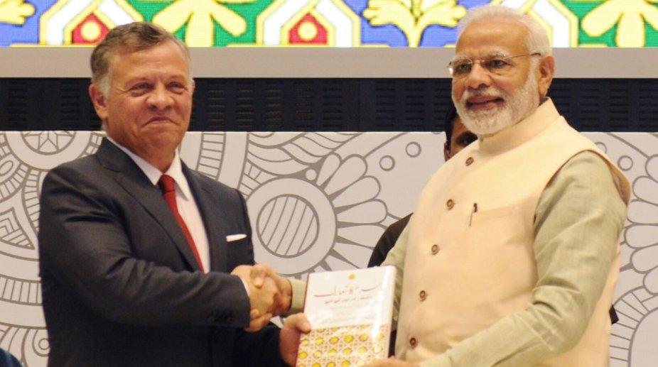 Jordan India Modi Abdullah at Vigyan Bhavan