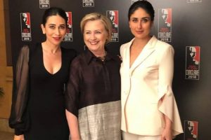 Kareena Kapoor Khan, Karisma Kapoor pose with Hillary Clinton