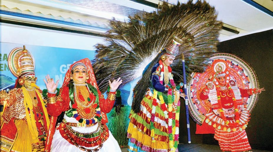 Traditional performance during a session on tourism organised by Kerala Tourism in Kolkata on Friday. (Photo: Sailendra Mal)