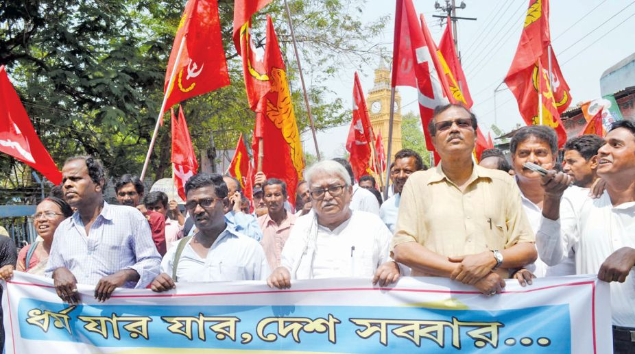 Left Front rally at Rampurhat on Saturday; Ram Navami rally at Behala in Kolkata on Saturday. (Photo: SNS/Arun Lodh)
