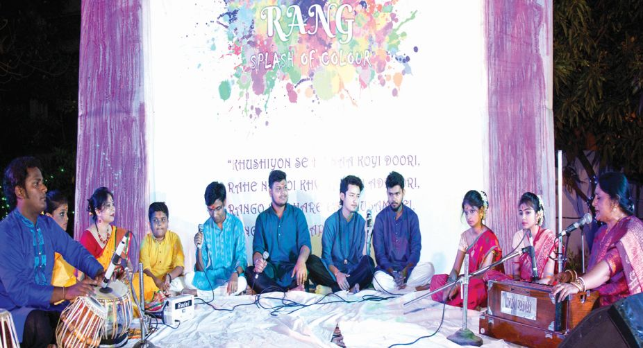 Abantika Chakraborty (harmonium and vocal) and Bilal Khan (Tabla) with the students.