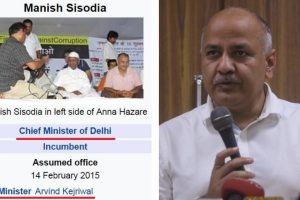 For a few hours, Manish Sisodia was Delhi Chief Minister on Wikipedia