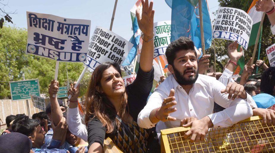 NSUI, protest, CBSE paper leak