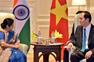 Sushma Swaraj calls on Vietnam President Quang