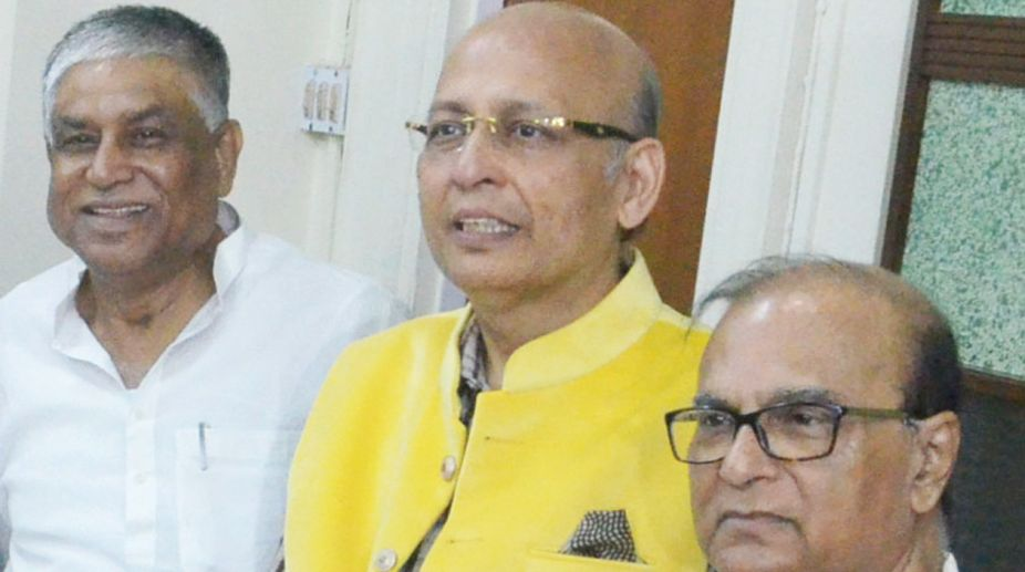 Congress leader and candidate for Rajya Sabha election Abhishek Manu Singhvi (middle), Abdul Mannan and Pradip Bhattacharjee at Assembly House in Kolkata on Saturday. (Photo: SNS)