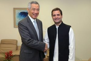 Congress chief Rahul Gandhi meets Singapore PM, Dy PM