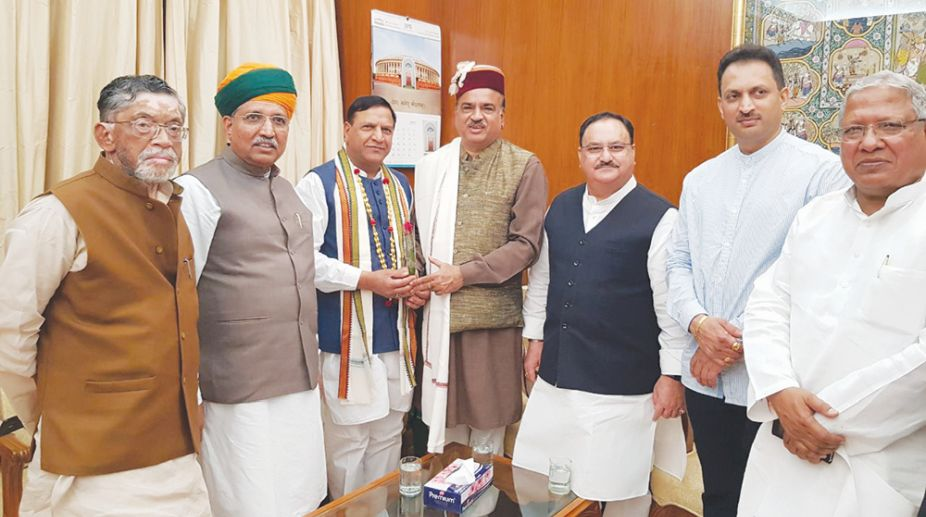 Himachal Pradesh Legislative Assembly speaker Dr Rajeev Bindal with Union Health Minister JP Nadda met Union minister for Parliamentary Affairs Ananth Kumar in New Delhi on Monday. (Photo: SNS)
