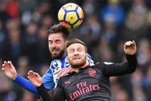 Arsenal stopper Shkodran Mustafi reacts to Brighton loss